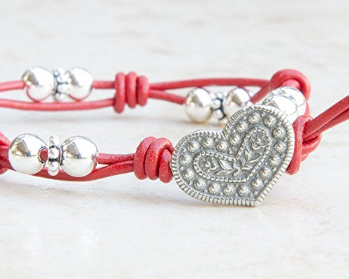 Red Leather Bracelet with Pewter Heart Button and Sterling Silver Beads -