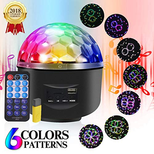 Urijk Party Lights Sound Activated with Remote, RBG Disco Ball Dj Light Strobe Lamp with 6 Pattern & Color, LED Stage Dance Light Projector for Halloween Christmas Party KTV Wedding Karaoke Bar Club]()