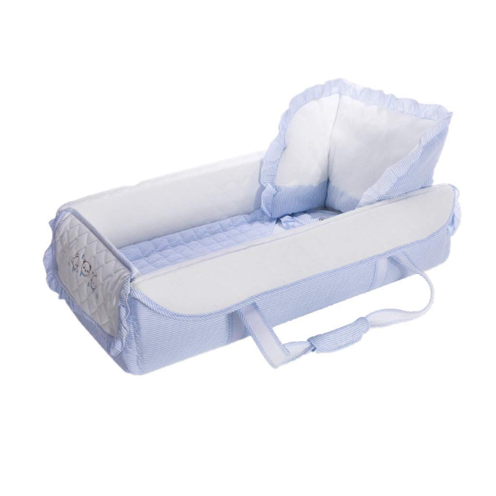 Multi-Functional Baby Bed Crib Travel Cots Enclosed Three-Dimensional Protection Sleeptight Portable Washable White and Blue (Color : Blue)