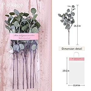 YUYAO Artificial Plants Silver Dollar Eucalyptus Leaves 6Pcs Leaf Silk Artificial Greenery Stems Fake Plants Leaves for Home Wedding Party Decoration 4