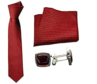 Luxeis Men Premium Neck Tie and Pocket Square with Cufflink Combo Gift Set (Maroon)