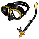 285890-GDBK, Snorkeling Purge Mask and dry Snorkel Combo set, Golden Black