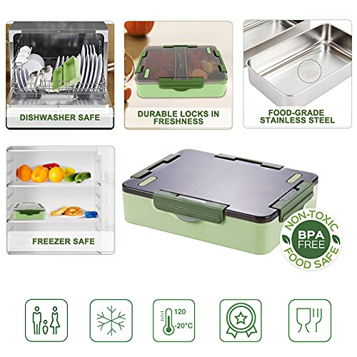 Bento Box, Genteen On the Go Lunch Box with High Capacity Stainless Steel Trays for Kids or Adults with Sauce Box, Fork and Spoon