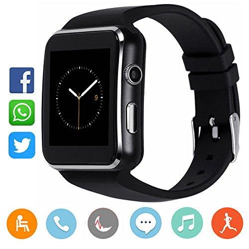 Reloj inteligente Bluetooth con cámara, CanMixs CM03 visualización táctil inteligente reloj de pulsera con ranura de...