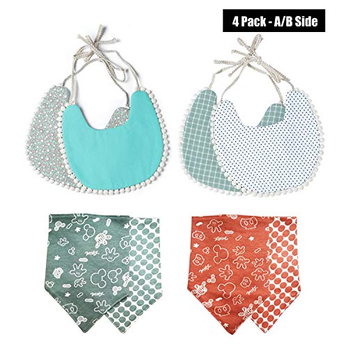 Baby Bandana Drooling/Teething Bibs for Girls, DuoL Double-side Usable Cute Absorbent Cotton Drool Bibs for Toddler Girl, Classic Look