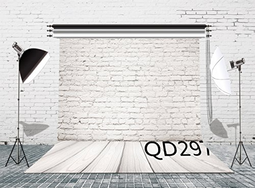 LB 8x8ft Poly Fabric White Brick Wall Photography Background Customized Retro Wooden Floor Photo Backdrop Studio Props Background QD297