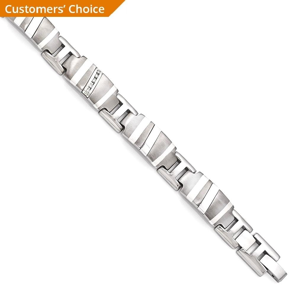ICE CARATS Edward Mirell Titanium 925 Sterling Silver .10ctw Diamond Link Bracelet 8.5 Inch Fancy Man Cuff Men Fine Jewelry Dad Mens Gift Set by ICE CARATS (Image #3)