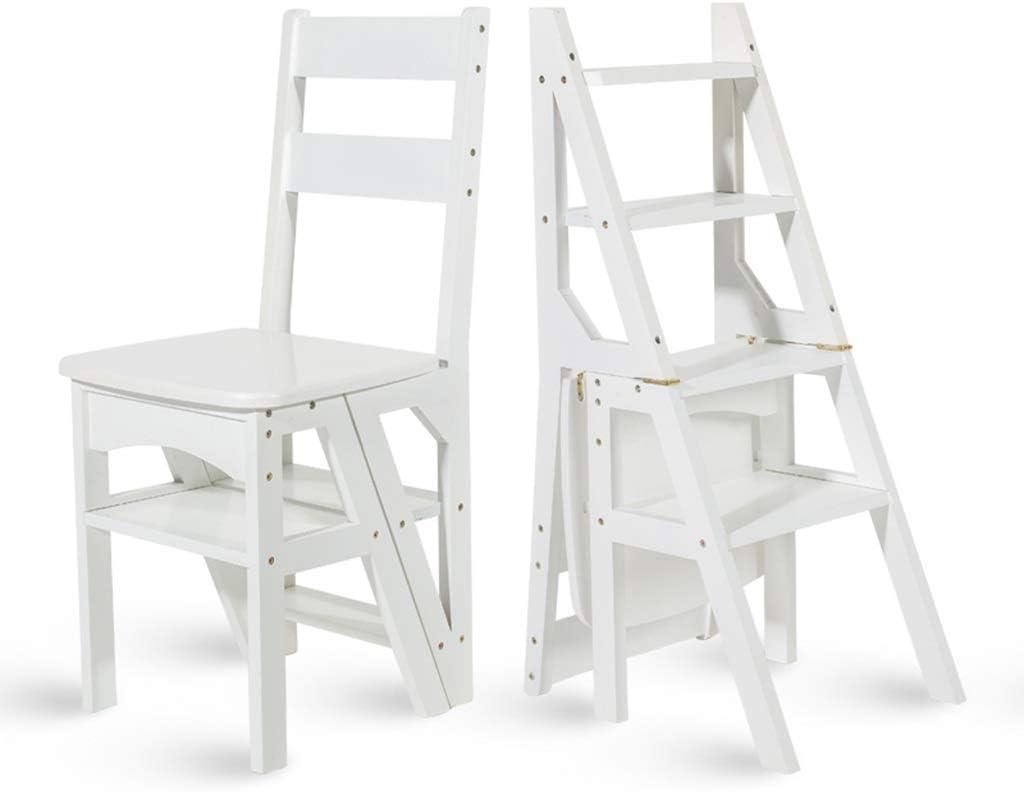MZ Taburete Plegable de 3 Pasos para Adultos, Escalera Acolchada Multiusos, Taburete con Respaldo, Estante de 4 Capas (Color : Blanco): Amazon.es: Hogar