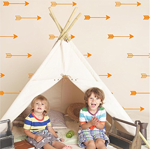 Set of 27 Arrow Decal stickers tribal arrows wall decal vinyl lettering wallpaper (Orange)