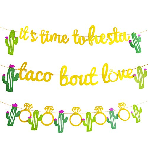 - Sibosen 3 Pieces Mexican Fiesta Glitter Banner Taco Bout Love It's Time to Fiesta Cactus Pattern Garland Flag for Baby Shower Bridal Wedding Engagement Party Decorations