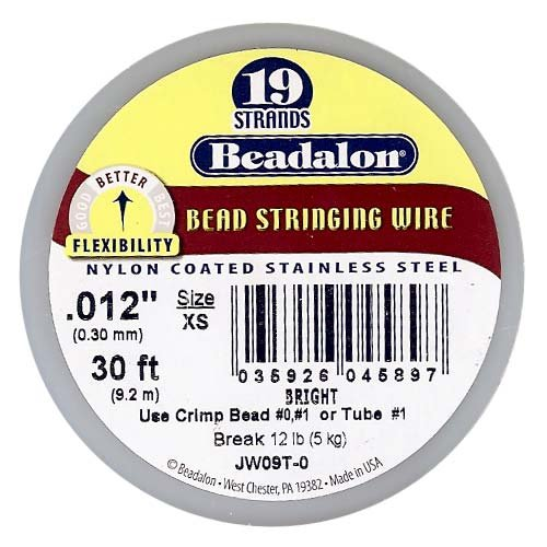 Beadalon 19-Strand Bead Stringing Wire, 0.012-Inch, Bright, 30-Feet ()