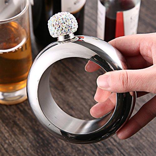 Hillside-Kit Bracelet Bangle Flask Handmade Crystal Lid Creative 304 Stainless Steel Wine Flask Gift For Women Girls Men Party Flask Hidden Liquor Flask Bracelet Funnel Set 3.5oz (Silver Crystal) by Hillside-kit (Image #8)