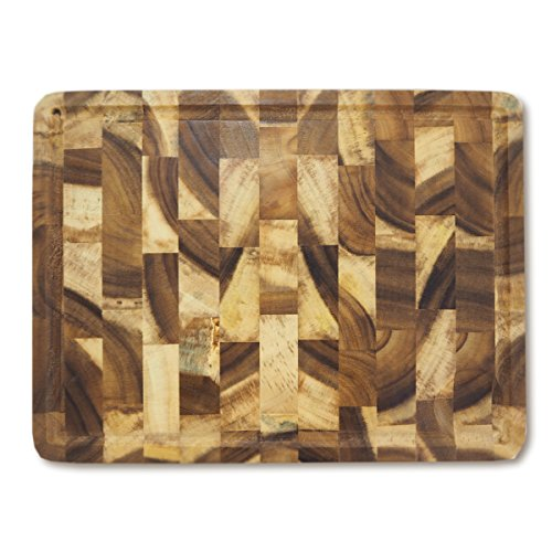 RoRo Rectangular End-Grain Acacia Kitchen Wood Cutting Board and Block with Groove, 16 inch