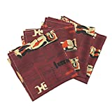 Wood Woodwork Woodshop Tiki Tapa Aloha Hawaii Organic Sateen Dinner Napkins Pu'uhonua O Honaunau 1D by Muhlenkott Set of 4 Dinner Napkins