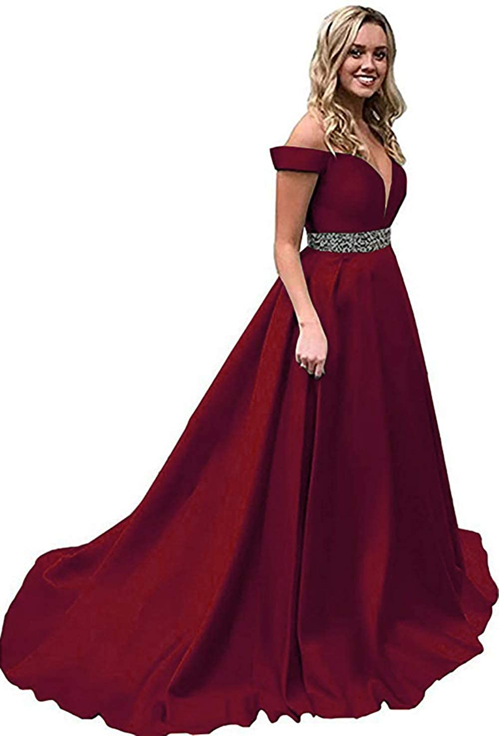 Burgundy Rmaytiked Womens Off The Shoulder Prom Dresses Long Beaded 2019 Satin A Line Formal Evening Ball Gowns with Pockets