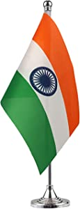 NoLogo India Indian Stand Base Flag Table Desk Flag,Metal Stand and Base and Country Flag Banners,for Home Garden Office Decoration, Festival Celebrations.