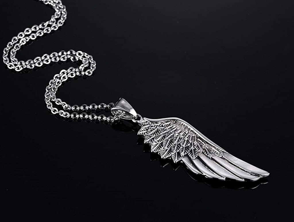 MoAndy Necklace Fashion Jewelry Stainless Steel Necklace Unisex Pendant Necklace Wing Silver