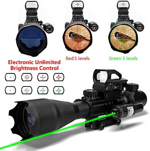 AR15 Tactical Rifle Scopes 4-16X50EG Dual Ill Optical Reticle Scope with Electronic Holographic R&G Dot Sight 22&11mm Weaver/Picatinny Mount(24 Month Warranty)