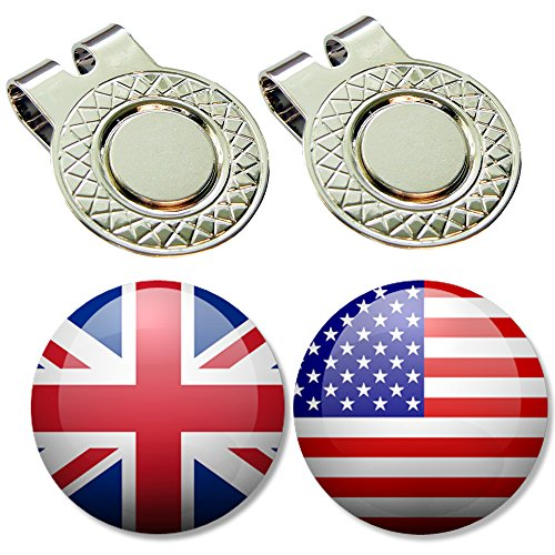 BUSHMANCRAFT 2 Golf Ball Markers + 2 Magnetic Hat Clips Set (NF_USA_UK)