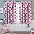 "Chaneyhouse Kiss Patterned Drape for Glass Door Vibrant Colored Lipstick Kiss Print Smooch Abstract Hot Pink Grungy Look Feminine Waterproof Window Curtain 55"" W x 39"" L Fuchsia White"