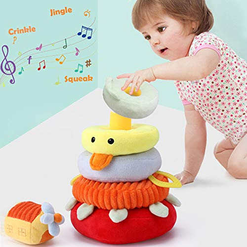 iPlay, iLearn Soft Plush Baby Toys, Safe First Stacking Rings, Sounds n Textures, Easy Grip Shaker, Learning Biting Gifts for 3, 6, 9, 12, 18 Months 1 Year Olds Newborn Infant Toddler Boy Girl(Yellow) (Lamby Stacker)