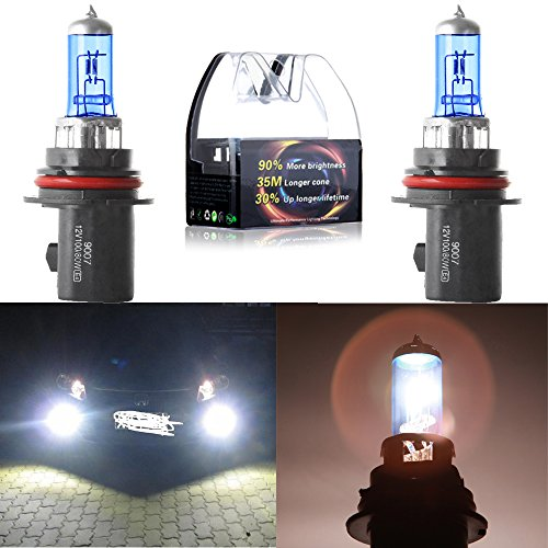 cciyu 2 Pack Super White 9007-HB5 5900K XenonHalogen Headlight Bulb 80/100W 12V