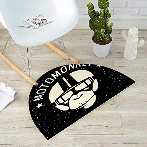 Outer Space Semicircular CushionSign Alien Monkey with Astronaut Costume in a Galaxy with Stars Poster Entry Door Mat H 23.6