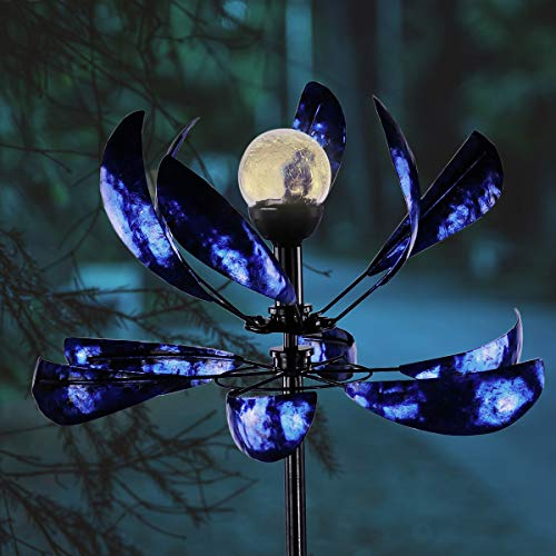 hourflik Solar Wind Spinner 3D Kinetic Wind Spinners Outdoor Metal Gardening Decorations with Multi-Color LED Lighting by Solar Powered Glass Ball with Lawn Ornament Wind Mills (Spinners Metal Outdoor Wind)