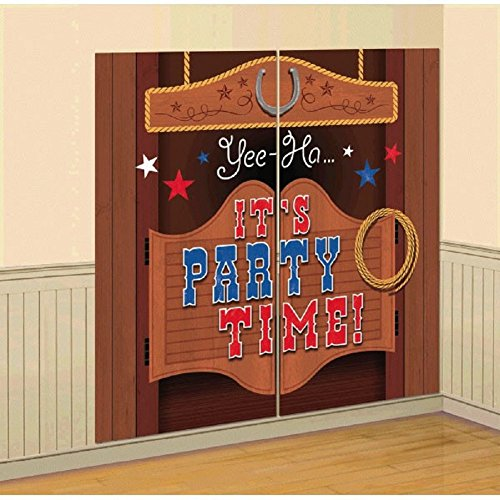 High Riding Western Party Saloon Door Scene Setter Wall Decorating Kit, Vinyl, 65