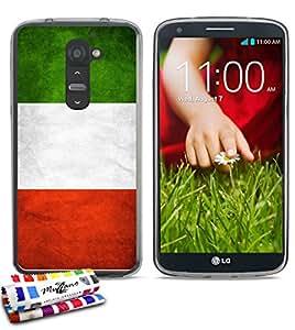 Carcasa Flexible Ultra-Slim LG G2 de exclusivo motivo [Bandera italia] [Gris] de MUZZANO  + ESTILETE y PAÑO MUZZANO REGALADOS - La Protección Antigolpes ULTIMA, ELEGANTE Y DURADERA para su LG G2