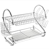 Addmirre Two Tier Superior Quality Rust Proof Treatment Dish Drying Rack,White Dish Drainer