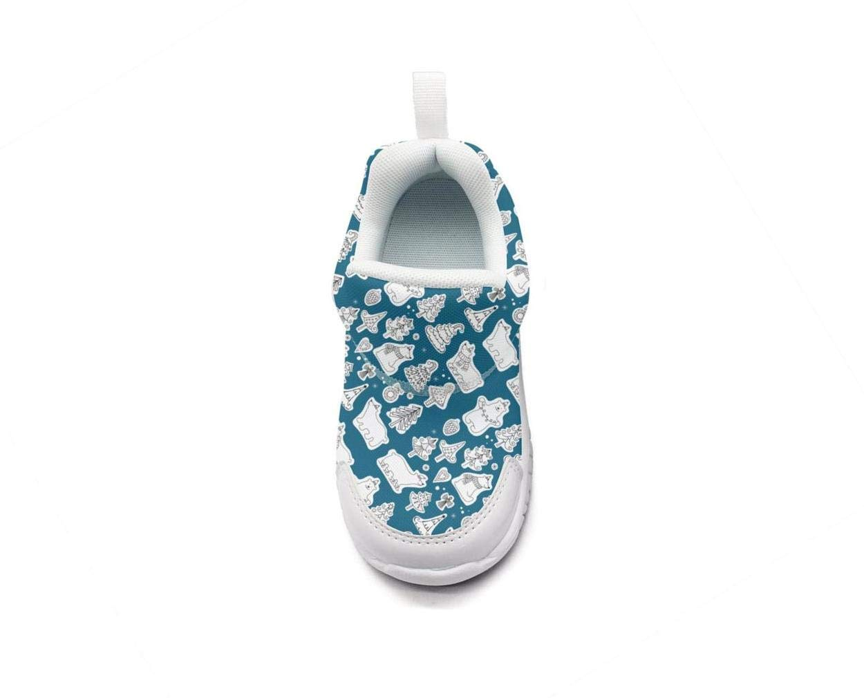 ONEYUAN Children Happy Christmas Polar Bear Kid Casual Lightweight Sport Shoes Sneakers Walking Athletic Shoes
