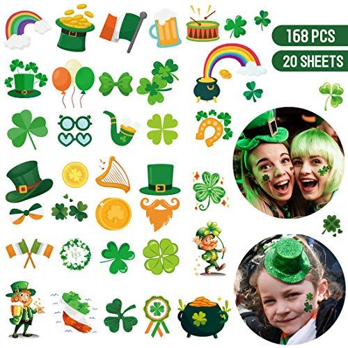 Henna Tattoo Kits Ireland: 168 PCS St. Patrick's Day Tattoos Stickers Shamrock