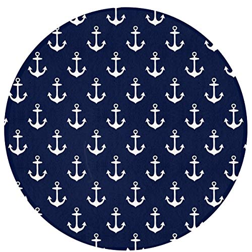 NiYoung Best Play Mat Carpet for Kids Room Decorations & Teepee Tent Nautical Anchorr Area Rug Non-Slip Round Mat for Bedroom Living Room Kitchen Nursery and More