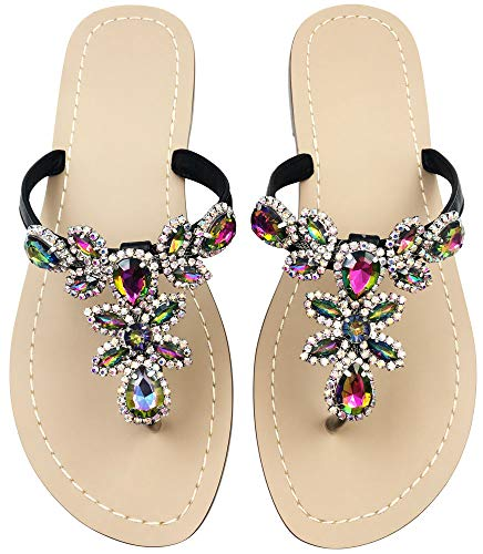 Hinyyrin Summer Rhinestone Sandals Shoes,Flat Flip Flops Shoes,Gem Beach Wedding Black Size 9.5-10