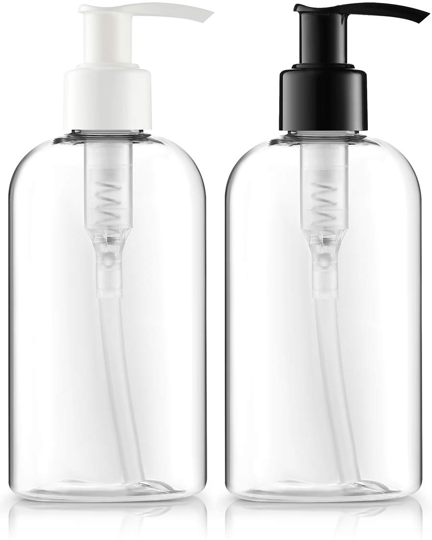 BAR5F Plastic Bottles with Pump Dispenser, 8 oz | Leak Proof, Empty, Clear Refillable, BPA Free for Body Wash, Moisturizer, Face Cream, Liquid Soap | Black & White Pumping Caps | Set of 2 : Beauty
