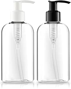Empty Lotion Bottles 8 Oz. Crystal Clear Short Round Bottles SET, Black & White Pump, Great for - Creams, Body Wash, Hand Soap, Self-Tanners, Bronzers and Massage Lotion