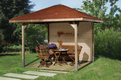Gartenoase 651 - Ausführung: Gr. 2 mit Dachschindeln, Schindel- bedarf: 6 Pkt, Bemaßung: Firsthöhe 286 cm, Traufhöhe 199 cm, Außenmaß: 333 x 333 cm