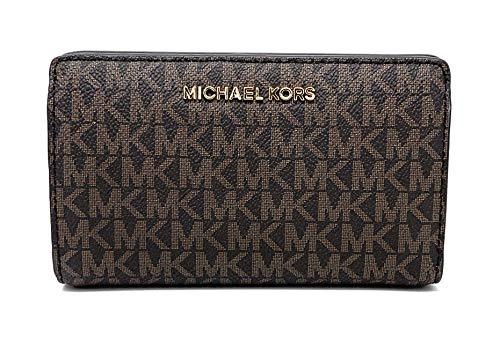 Michael Kors Jet Set Travel Slim Bifold Signature PVC Leather Wallet, Brown/Acorn