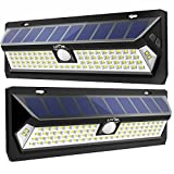 Litom Solar Lights Outdoor, Wireless 80 LED Solar Motion Sensor Lights with Wide Angle, Adjustable Lighting Time and Front Switch Design, Waterproof Security Lights for Garden Yard Patio (2 Pack)