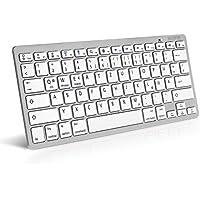 Caseflex Deutsches Layout Kabellose Bluetooth Tastatur Für alle iOS, iPad, Android, Mac, Windows Geräte - Ultra Dünne Silber & Weiss