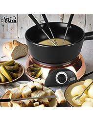Artestia Electric Ceramic Fondue Set with 6 Fondue Forks (Rose Gold Color Base/Black Ceramic Pot)