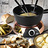 Artestia Electric Ceramic Fondue Set with 6 Fondue Forks (Rose Gold Color Base/Black Ceramic Pot)