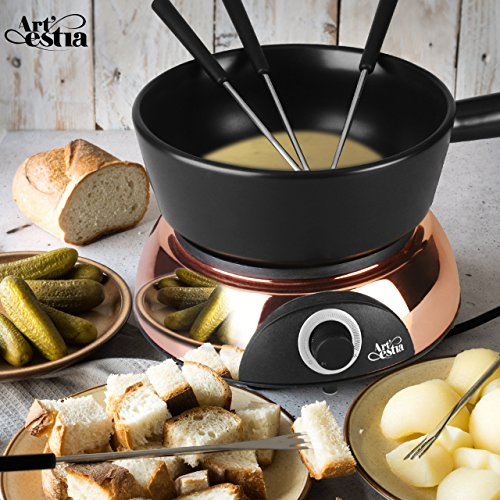 - Artestia Electric Ceramic Fondue Set with 6 Fondue Forks (Rose Gold Color Base/Black Ceramic Pot)