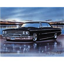 1963 Ford Galaxie 500 Sports Hardtop Muscle Car Art Print Black 11x14 Poster