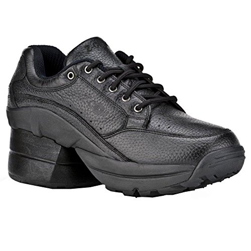 Z-CoiL Pain Relief Footwear Women's Legend Rugged Outsole Enclosed Coil Black Leather Tennis Shoe
