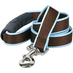 "Yellow Dog Design Sterling Stripes Brown Light Blue Dog Leash with Comfort Grip Handle-Medium-3/4 5' x 60"""