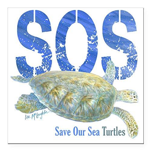CafePress - Sos Save Our Sea Turtles Square Car Magnet 3