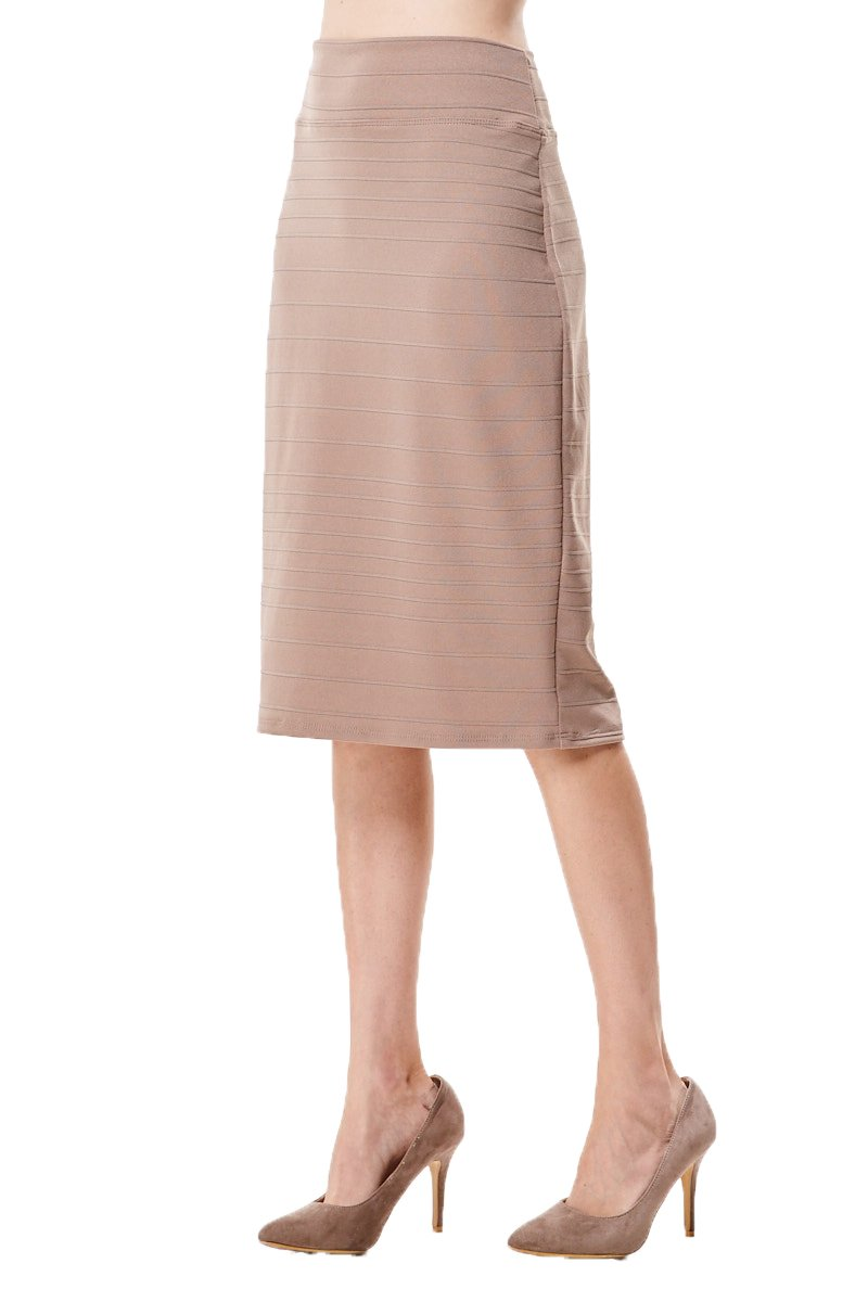 MoDDeals Women's Regular and Plus Size Cotton Knee Length Classic Stretchy Slim Bodycon Pencil Skirt for Office and Business (Large, Ribbed Taupe)