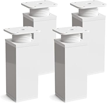 Patas para muebles, 4 piezas, altura regulable | Perfil cuadrado ...
